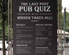 Wetherspoons - The Last Post - Pub Quiz poster